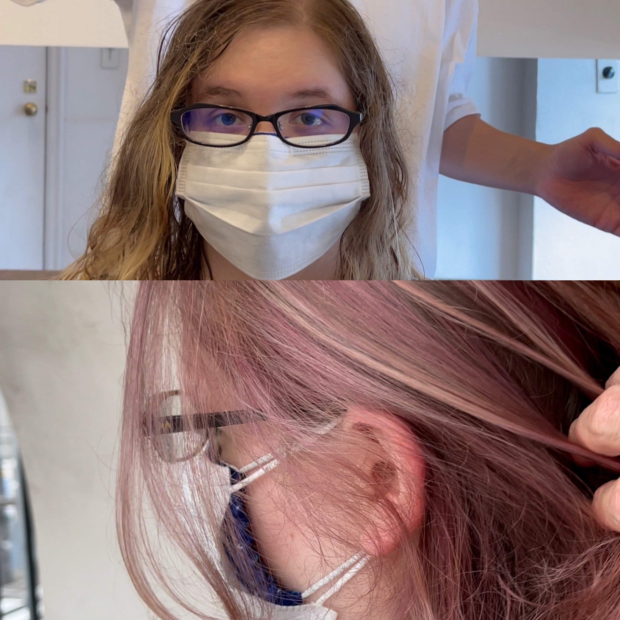 before and after red purple hair